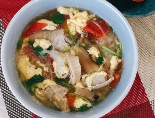 レンチン中味汁であっという間に中華スープ